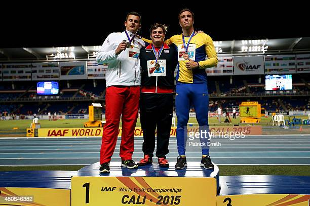 Adrian Piperi of the USA gold medal Szymon Mazur of Poland silver medal and Wictor Petersson of Sweden bronze medal celebrate on the podium after...