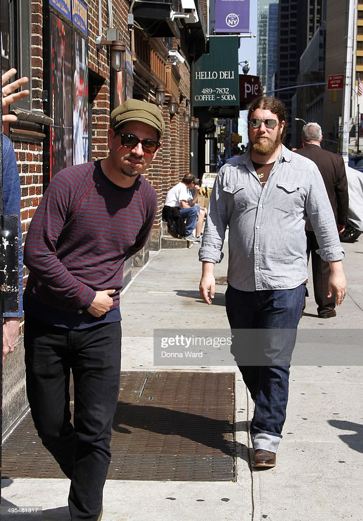Adrian Quesada and Patrick Hallahan of Spanish Gold arrive for the 'Late Show with David Letterman' at Ed Sullivan Theater on June 3, 2014 in New York City.