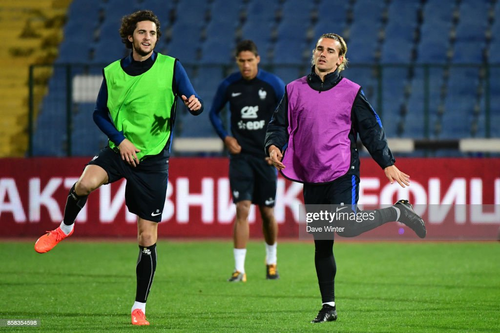 Adrian Rabiot of France and Antoine Griezmann of France during the training session of the France football team ahead the World Cup qualifying match against Bulgaria on October 6, 2017 in Sofia, Bulgaria.