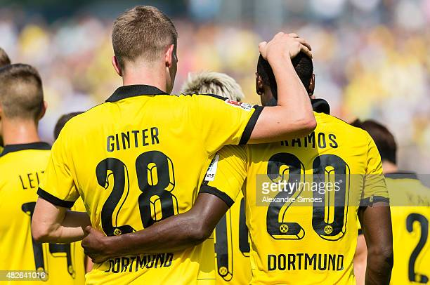 Adrian Ramos celebrates after scoring his team's first goal of Borussia Dortmund during the preseason friendly match between Borussia Dortmund and...