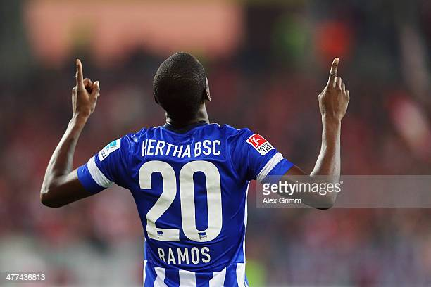 Adrian Ramos of Berlin celebrates his team's first goal during the Bundesliga match between 1 FSV Mainz 05 and Hertha BSC Berlin at Coface Arena on...