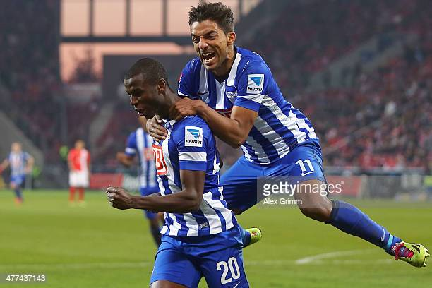 Adrian Ramos of Berlin celebrates his team's first goal with team mate Sami Allagui during the Bundesliga match between 1 FSV Mainz 05 and Hertha BSC...