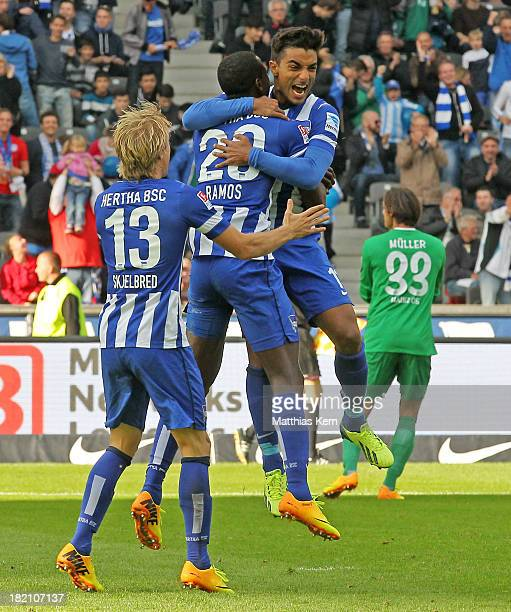 Adrian Ramos of Berlin jubilates with team mates after scoring the second goal during the Bundesliga match between Hertha BSC and 1FSV Mainz 05 at...