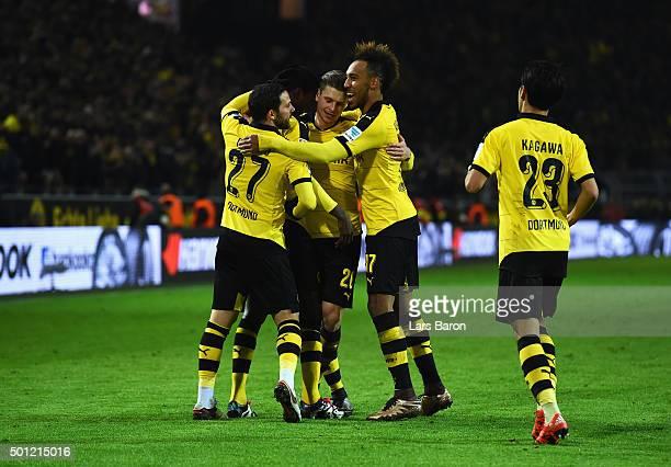 Adrian Ramos of Borussia Dortmund celebates with team mates Gonzalo Castro Lukasz Piszczek PierreEmerick Aubameyang and Shinji Kagawa as he scores...