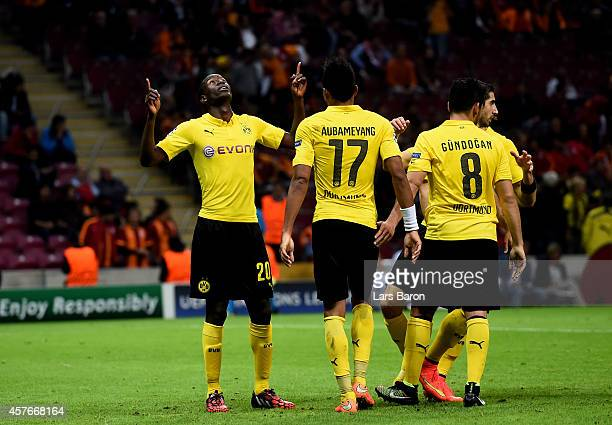 Adrian Ramos of Borussia Dortmund celebrates after scoring his team's fourth goal during UEFA Champions League Group D match between Galatasaray and...