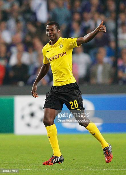 Adrian Ramos of Borussia Dortmund celebrates as he scores their second goal during the UEFA Champions League Group D match between RSC Anderlecht and...