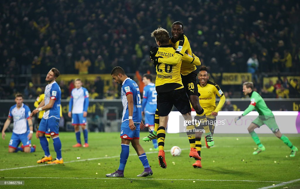 Adrian Ramos of Borussia Dortmund celebrates scoring his team's second goal with Lukasz Piszczek during the Bundesliga match between Borussia...