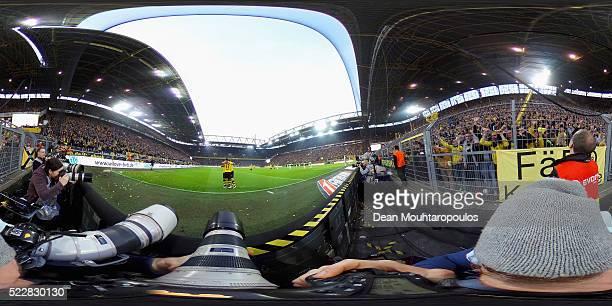 Adrian Ramos of Borussia Dortmund celebrates scoring his team's third goal during the Bundesliga match between Borussia Dortmund and Werder Bremen at...