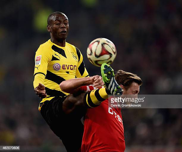 Adrian Ramos of Borussia Dortmund challenges Adam Bodzek of Fortuna Duesseldorf during the friendly match between Fortuna Duesseldorf and Borussia...