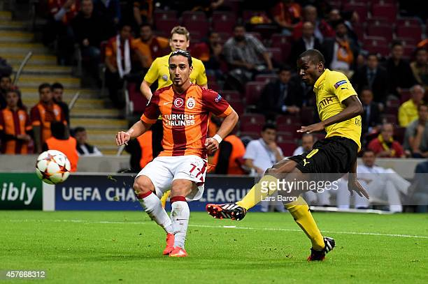 Adrian Ramos of Borussia Dortmund scores his team's fourth goalduring UEFA Champions League Group D match between Galatasaray and Borussia Dortmund...