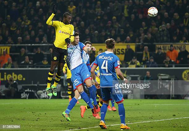 Adrian Ramos of Borussia Dortmund scores his team's second goal with a header during the Bundesliga match between Borussia Dortmund and 1899...