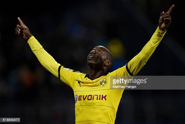 Adrian Ramos of Dortmund celebrates after scoring his team's first goal during the Bundesliga match between SV Darmstadt 98 and Borussia Dortmund at...