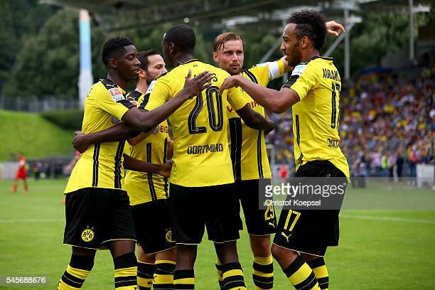 Adrian Ramos of Dortmund celebrates the first goal with his team mates during the friendly match between Wuppertaler SV and Borussia Dortmund at...