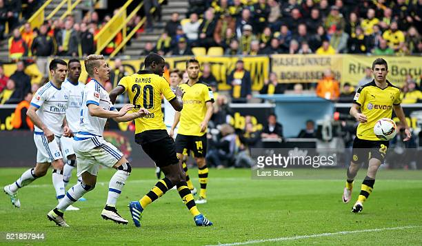 Adrian Ramos of Dortmund scores his teams third goal during the Bundesliga match between Borussia Dortmund and Hamburger SV at Signal Iduna Park on...