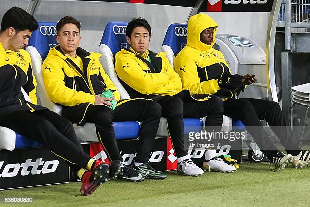 Adrian Ramos of Dortmund Shinji Kagawa of Dortmund and Emre Mor of Dortmund sits on the bench during the Bundesliga match between TSG 1899 Hoffenheim...