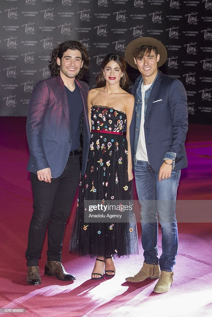 Adrian Salzedo, Martina Stoessel and Jorge Blanco attend the premiere of Tini-La nuova vita di Violetta at Auditorium Parco della Musica on April, 29, 2016 in Rome, Italy.