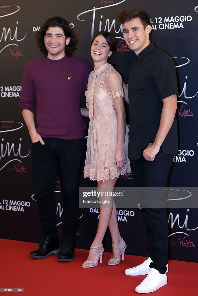 Adrian Salzedo, <a gi-track='captionPersonalityLinkClicked' href=/galleries/search?phrase=Martina+Stoessel&family=editorial&specificpeople=11048236 ng-click='$event.stopPropagation()'>Martina Stoessel</a> and <a gi-track='captionPersonalityLinkClicked' href=/galleries/search?phrase=Jorge+Blanco&family=editorial&specificpeople=5486518 ng-click='$event.stopPropagation()'>Jorge Blanco</a> attend 'Tini - The New Life Of Violetta' Photocall In Rome at Hotel Parco dei Principi on April 29, 2016 in Rome, Italy.