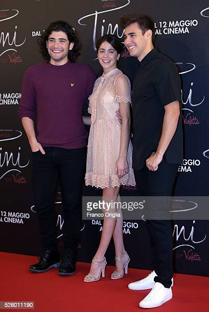 Adrian Salzedo Martina Stoessel and Jorge Blanco attend 'Tini The New Life Of Violetta' Photocall In Rome at Hotel Parco dei Principi on April 29...