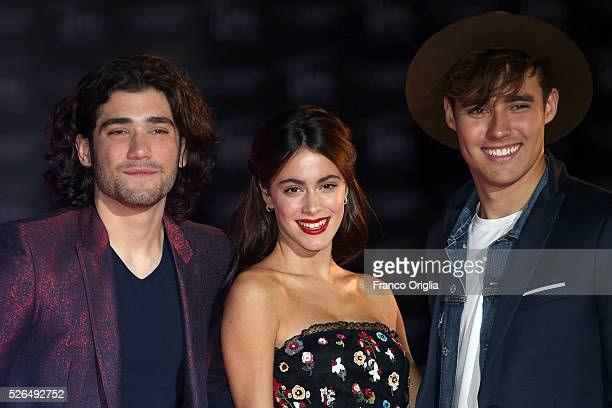 Adrian Salzedo Martina Stoessel and Jorge Blanco perform during the 'Tini The New Life Of Violetta' Premiere In Rome on April 29 2016 in Rome Italy