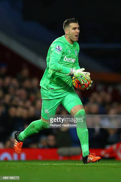 Adrian San Miguel of West Ham in action during the Barclays Premier League match between West Ham United and West Bromwich Albion at Boleyn Ground on...