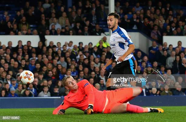 Adrian Sardinero of Apollon Limassol scores his isdes first goal during the UEFA Europa League group E match between Everton FC and Apollon Limassol...