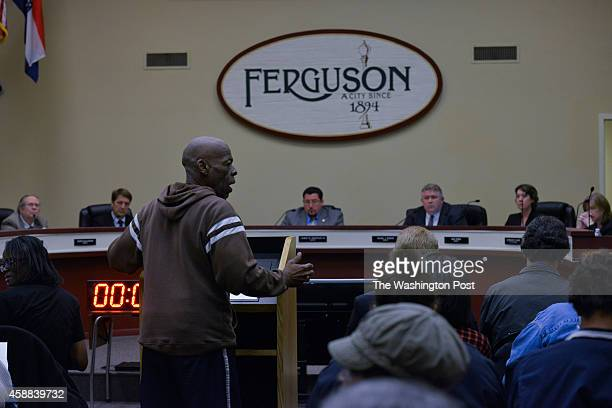 Adrian Shropshire of Ferguson addresses the Ferguson City Council on Monday November 10 in Ferguson MO Shropshire asked 'How are we going to...