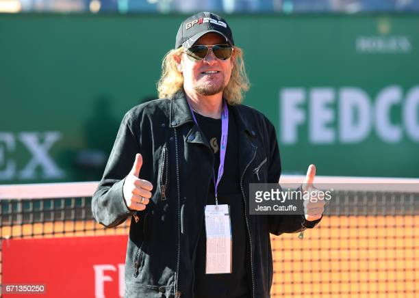 Adrian Smith of Iron Maiden poses on the court between matches on day 6 of the MonteCarlo Rolex Masters an ATP Tour Masters Series 1000 on the clay...