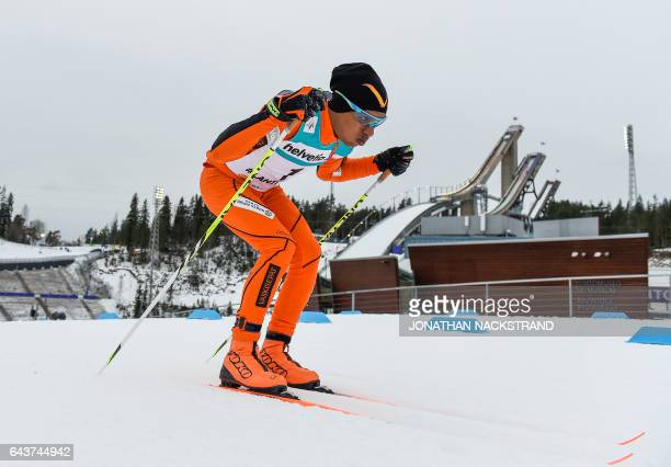 Adrian Solano of Venezuela competes in the Men 10 km Individual Classic Qualification Race of the 2017 FIS Nordic World Ski Championships in Lahti...