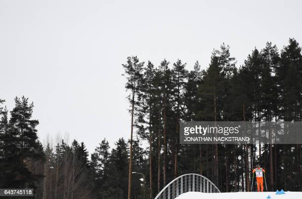 Adrian Solano of Venezuela competes in the Men's 10 km Individual Classic Qualification Race of the 2017 FIS Nordic World Ski Championships in Lahti...