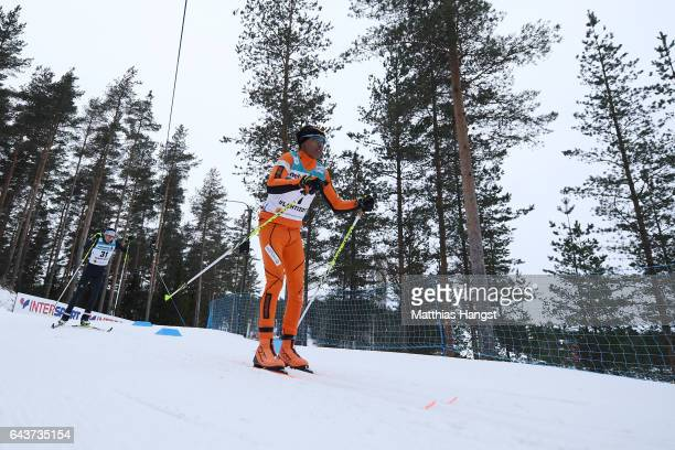 Adrian Solano of Venezuela competes in the Men's 10km Cross Country Qualification race during the FIS Nordic World Ski Championships on February 22...