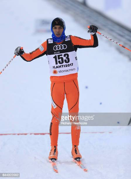 Adrian Solano of Venezuela eventually crosses the finish line in the Men's 16KM Cross Country Sprint qualification round during the FIS Nordic World...