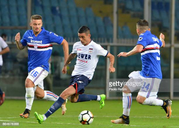 Adrian Stoian in action during the Serie A match between UC Sampdoria and FC Crotone at Stadio Luigi Ferraris on October 21 2017 in Genoa Italy