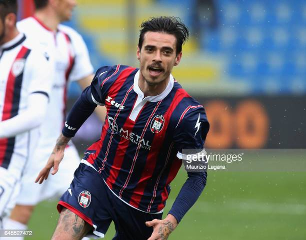 Adrian Stoian of Crotone celebrates after scoring his team's opening goal during the Serie A match between FC Crotone and Cagliari Calcio at Stadio...