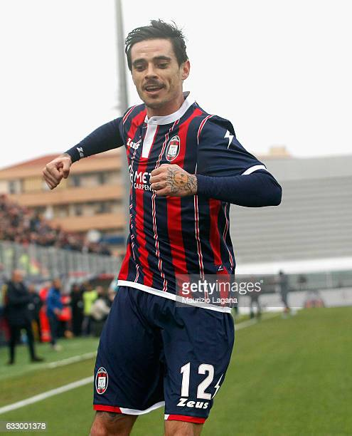 Adrian Stoian of Crotone celebrates after scoring the opening goal during the Serie A match between FC Crotone and Empoli FC at Stadio Comunale Ezio...