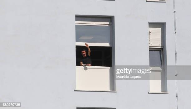 Adrian Stoian of Crotone celebrates from hospital the Serie A match between FC Crotone and Udinese Calcio at Stadio Comunale Ezio Scida on May 14...