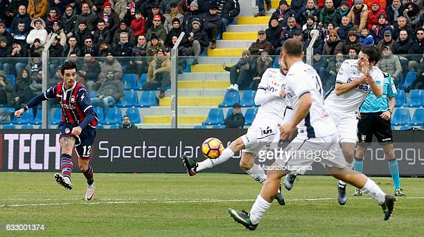 Adrian Stoian of Crotone scores the opening goal during the Serie A match between FC Crotone and Empoli FC at Stadio Comunale Ezio Scida on January...