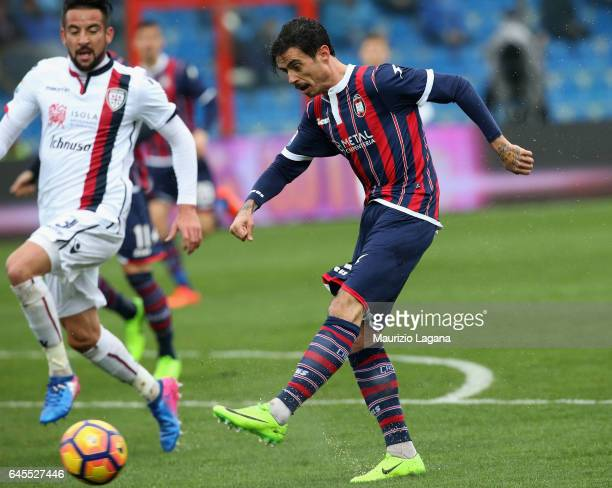 Adrian Stoian of Crotone scores the opening goal during the Serie A match between FC Crotone and Cagliari Calcio at Stadio Comunale Ezio Scida on...
