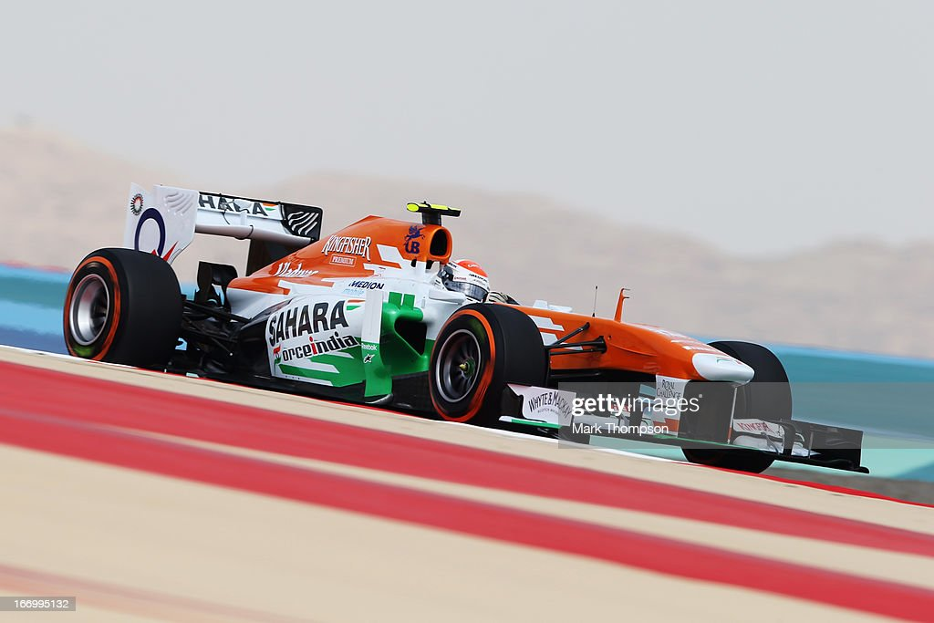 <a gi-track='captionPersonalityLinkClicked' href=/galleries/search?phrase=Adrian+Sutil&family=editorial&specificpeople=750787 ng-click='$event.stopPropagation()'>Adrian Sutil</a> of Germany and Force India drives during practice for the Bahrain Formula One Grand Prix at the Bahrain International Circuit on April 19, 2013 in Sakhir, Bahrain.