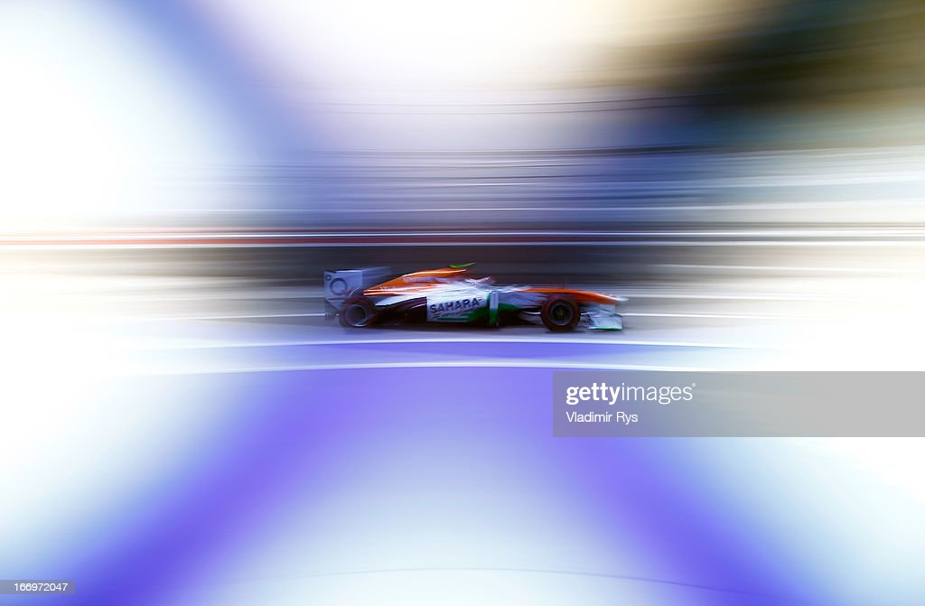 <a gi-track='captionPersonalityLinkClicked' href=/galleries/search?phrase=Adrian+Sutil&family=editorial&specificpeople=750787 ng-click='$event.stopPropagation()'>Adrian Sutil</a> of Germany and Force India drives his car during practice for the Bahrain Formula One Grand Prix at the Bahrain International Circuit on April 19, 2013 in Sakhir, Bahrain.