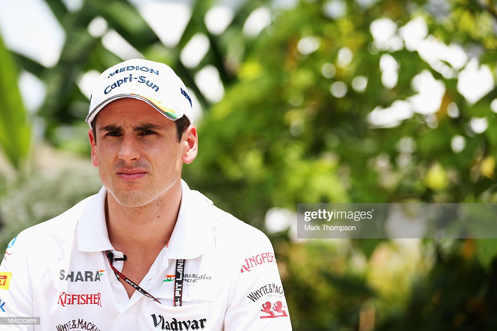 <a gi-track='captionPersonalityLinkClicked' href=/galleries/search?phrase=Adrian+Sutil&family=editorial&specificpeople=750787 ng-click='$event.stopPropagation()'>Adrian Sutil</a> of Germany and Force India is interviewed in the paddock during previews to the Malaysian Formula One Grand Prix at the Sepang Circuit on March 21, 2013 in Kuala Lumpur, Malaysia.