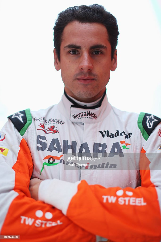 <a gi-track='captionPersonalityLinkClicked' href=/galleries/search?phrase=Adrian+Sutil&family=editorial&specificpeople=750787 ng-click='$event.stopPropagation()'>Adrian Sutil</a> of Germany and Force India poses for a photograph during day three of Formula One winter testing at the Circuit de Catalunya on March 2, 2013 in Montmelo, Spain.