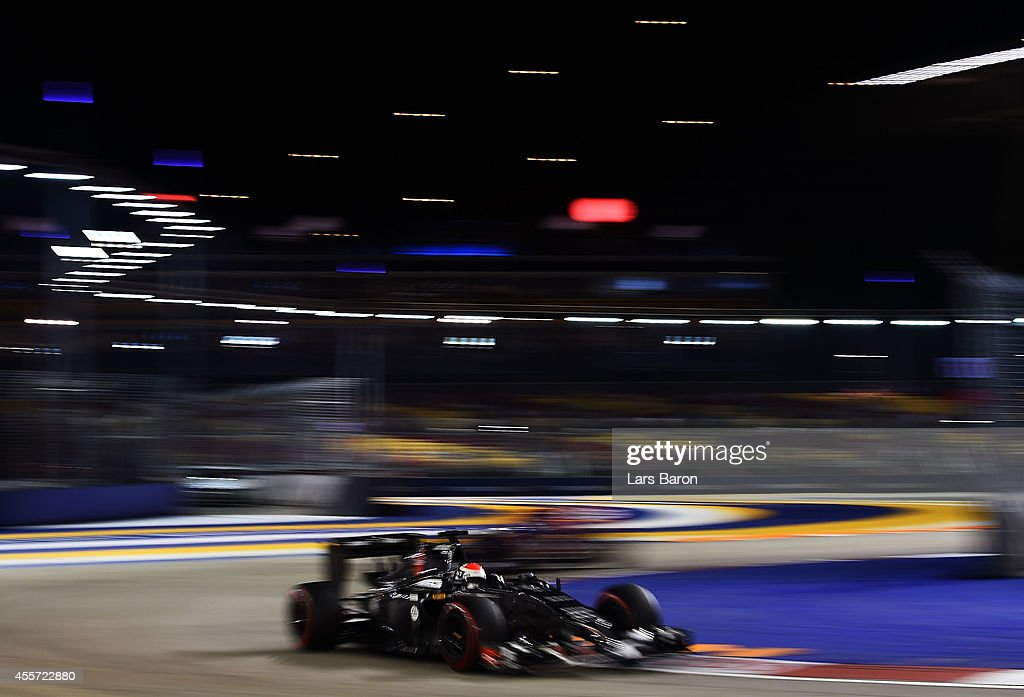 <a gi-track='captionPersonalityLinkClicked' href=/galleries/search?phrase=Adrian+Sutil&family=editorial&specificpeople=750787 ng-click='$event.stopPropagation()'>Adrian Sutil</a> of Germany and Sauber F1 drives during practice ahead of the Singapore Formula One Grand Prix at Marina Bay Street Circuit on September 19, 2014 in Singapore, Singapore.