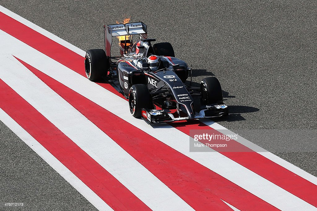 <a gi-track='captionPersonalityLinkClicked' href=/galleries/search?phrase=Adrian+Sutil&family=editorial&specificpeople=750787 ng-click='$event.stopPropagation()'>Adrian Sutil</a> of Germany and Sauber F1 pulls into the pitlane with an engine fire during day three of Formula One Winter Testing at the Bahrain International Circuit on March 1, 2014 in Bahrain, Bahrain.