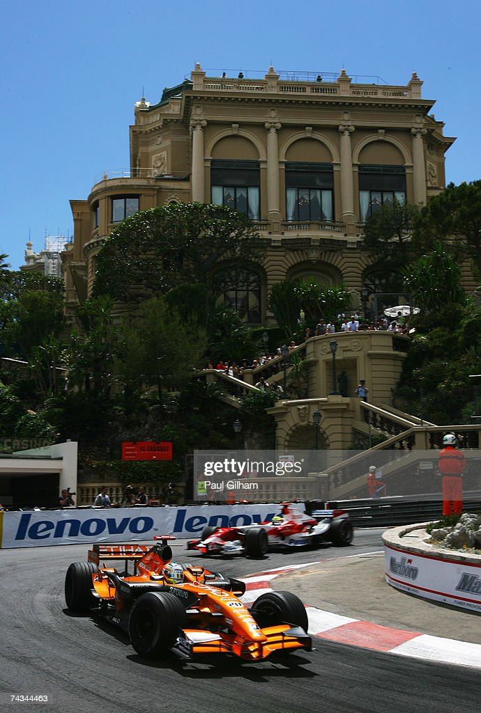 Adrian Sutil of Germany and Spyker F1 drives during the Monaco Formula One Grand Prix at the Monte Carlo Circuit on May 27, 2007 in Monte Carlo, Monaco.