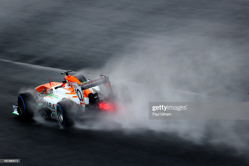 Adrian Sutil of Germany drives for Force India during day four of Formula One winter tesingt at the Circuit de Catalunya on February 22, 2013 in Montmelo, Spain.