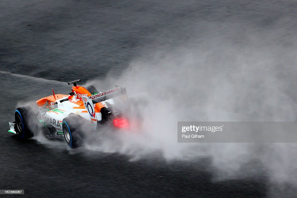 <a gi-track='captionPersonalityLinkClicked' href=/galleries/search?phrase=Adrian+Sutil&family=editorial&specificpeople=750787 ng-click='$event.stopPropagation()'>Adrian Sutil</a> of Germany drives for Force India during day four of Formula One winter tesingt at the Circuit de Catalunya on February 22, 2013 in Montmelo, Spain.