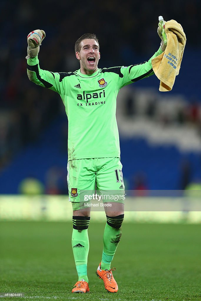 Adrian the goalkeeper of West Ham United celebrates in front of the travelling supporters after his sides 20 win during the Barclays Premier League...