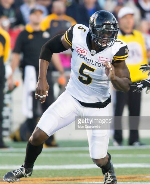 Adrian Tracy of the Hamilton TigerCats in Canadian Football League Action at TD Place Stadium in Ottawa Canada on Saturday September 9 2017 The...