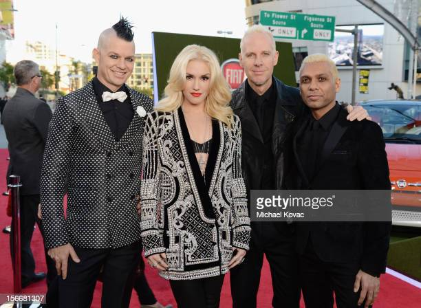 Adrian Young Gwen Stefani Tom Dumont and Tony Kanal of No Doubt attend Fiat's Into The Green during the 40th American Music Awards held at Nokia...