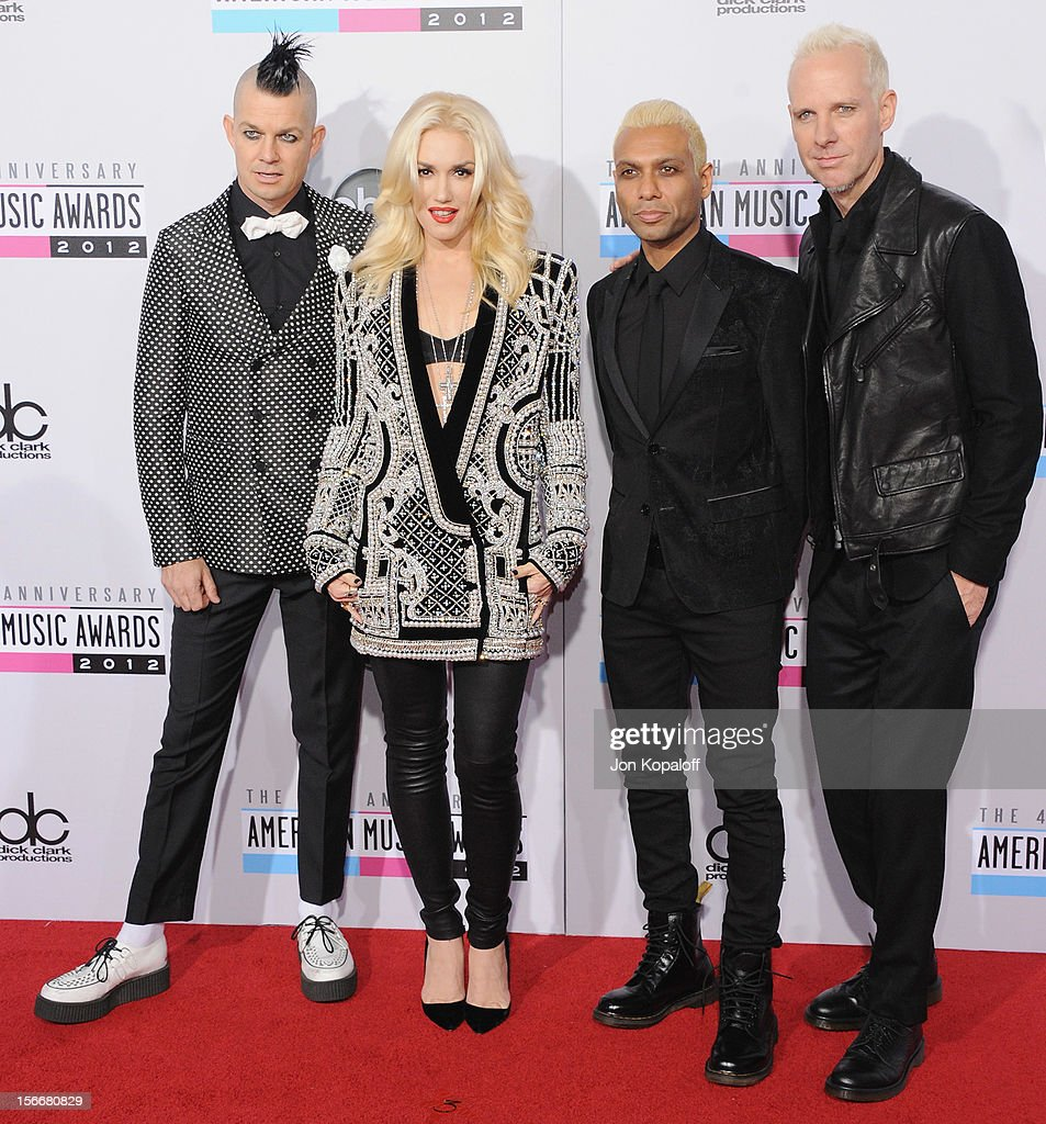 Adrian Young, Gwen Stefani, Tony Kanal and Tom Dumont of No Doubt arrive at The 40th American Music Awards at Nokia Theatre L.A. Live on November 18, 2012 in Los Angeles, California.